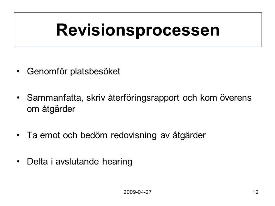 2009-04-2712 Revisionsprocessen Genomför platsbesöket Sammanfatta, skriv återföringsrapport och kom överens om åtgärder Ta emot och bedöm redovisning av åtgärder Delta i avslutande hearing