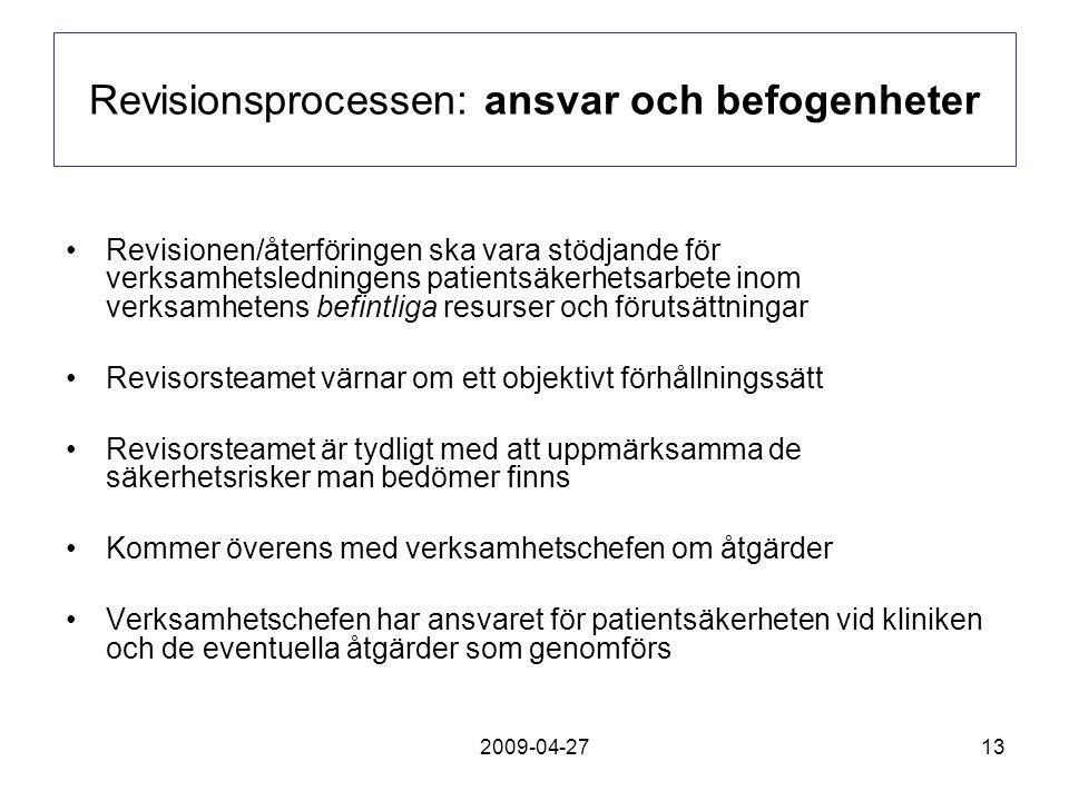2009-04-2713 Revisionsprocessen: ansvar och befogenheter Revisionen/återföringen ska vara stödjande för verksamhetsledningens patientsäkerhetsarbete i