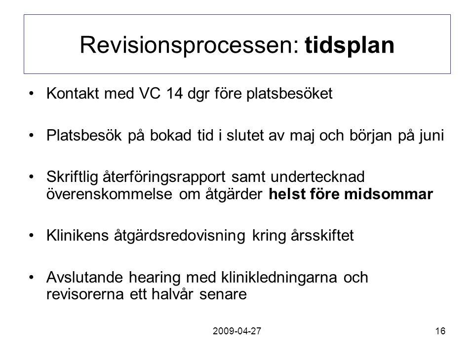 2009-04-2716 Revisionsprocessen: tidsplan Kontakt med VC 14 dgr före platsbesöket Platsbesök på bokad tid i slutet av maj och början på juni Skriftlig