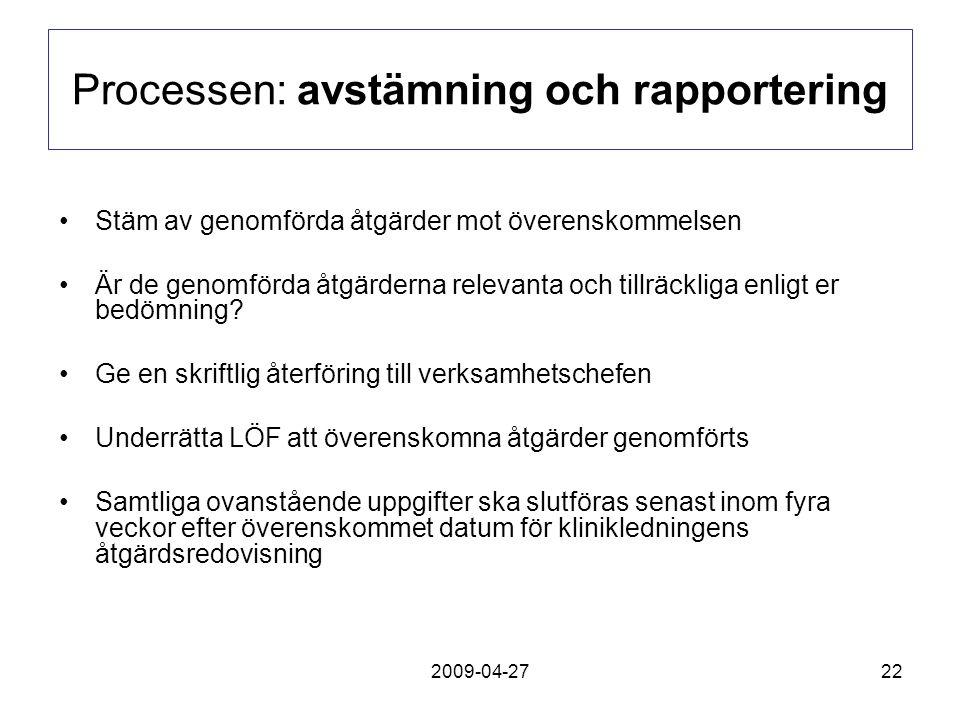 2009-04-2722 Processen: avstämning och rapportering Stäm av genomförda åtgärder mot överenskommelsen Är de genomförda åtgärderna relevanta och tillräc