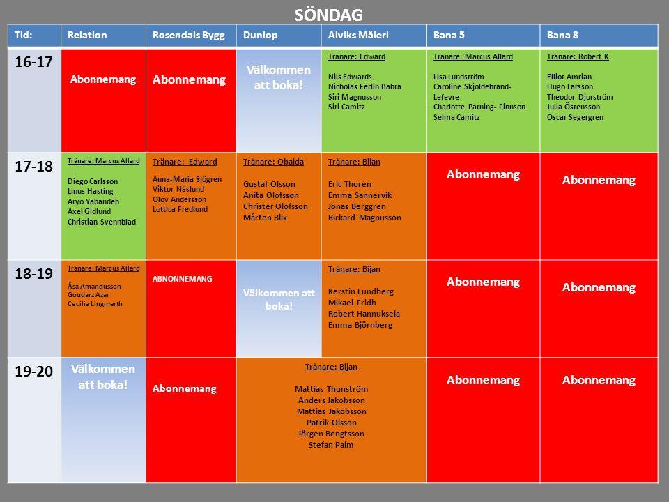 16-17 17-18 18-19 19-20 20-21 21-22 SÖNDAG Tid:RelationRosendals ByggDunlopAlviks MåleriBana 5Bana 8 16-17 Abonnemang Välkommen att boka! Tränare: Edw