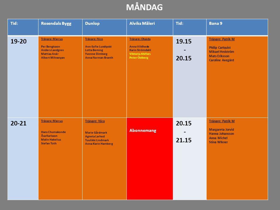 16-17 17-18 18-19 19-20 20-21 21-22 Tid:Rosendals ByggDunlopAlviks MåleriTid:Bana 9 19-20 Tränare: Marcus Per Bengtsson Anders Landgren Mattias Anér A