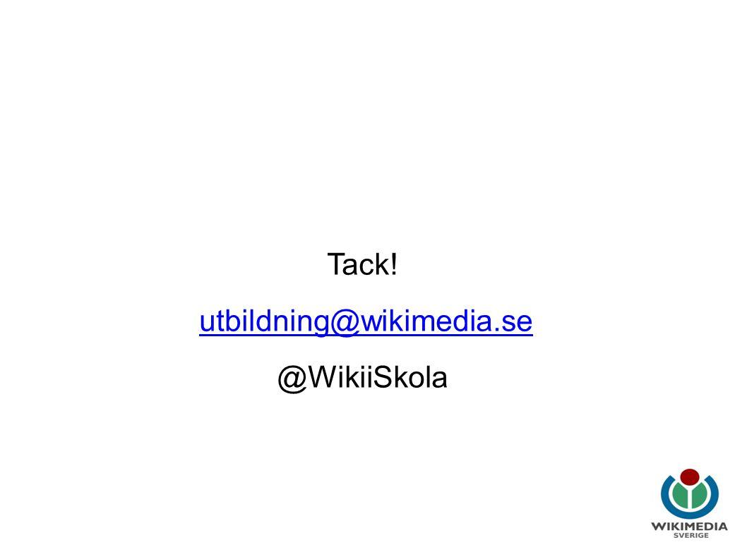 Wikipedia i utbildning Tack! utbildning@wikimedia.se @WikiiSkola