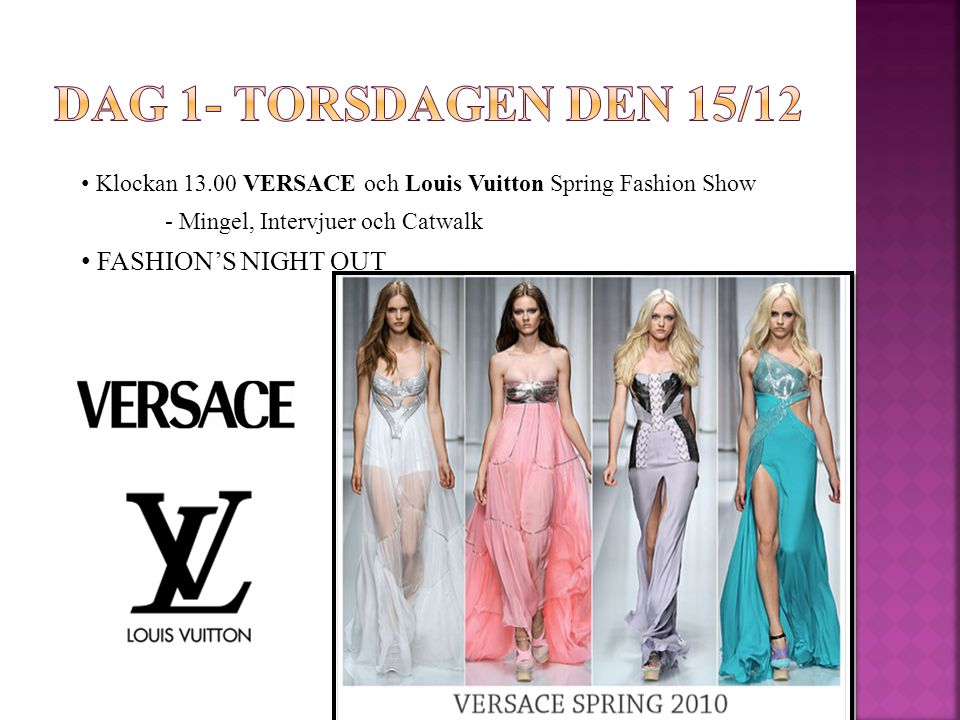 Klockan 13.00 VERSACE och Louis Vuitton Spring Fashion Show - Mingel, Intervjuer och Catwalk FASHION'S NIGHT OUT