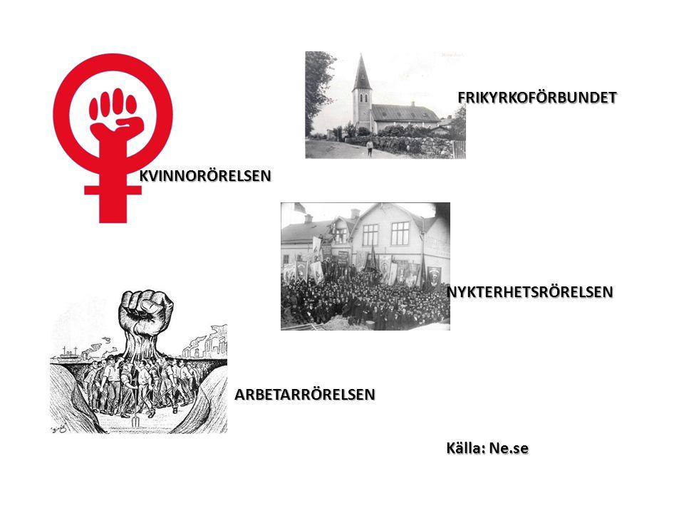 KVINNORÖRELSEN ARBETARRÖRELSEN NYKTERHETSRÖRELSEN FRIKYRKOFÖRBUNDET Källa: Ne.se