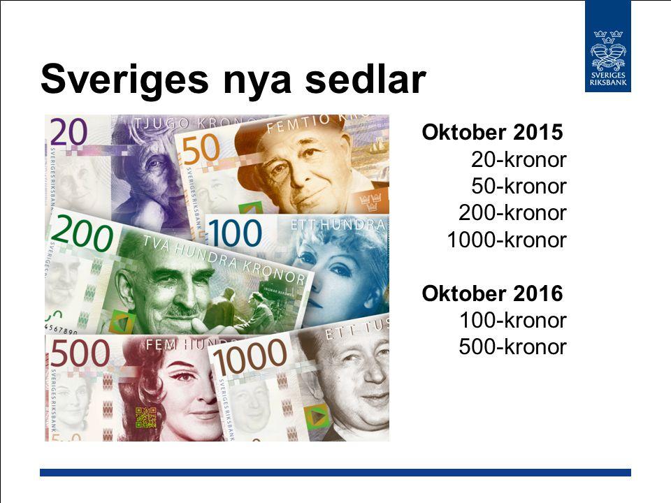 Sveriges nya sedlar Oktober 2015 20-kronor 50-kronor 200-kronor 1000-kronor Oktober 2016 100-kronor 500-kronor