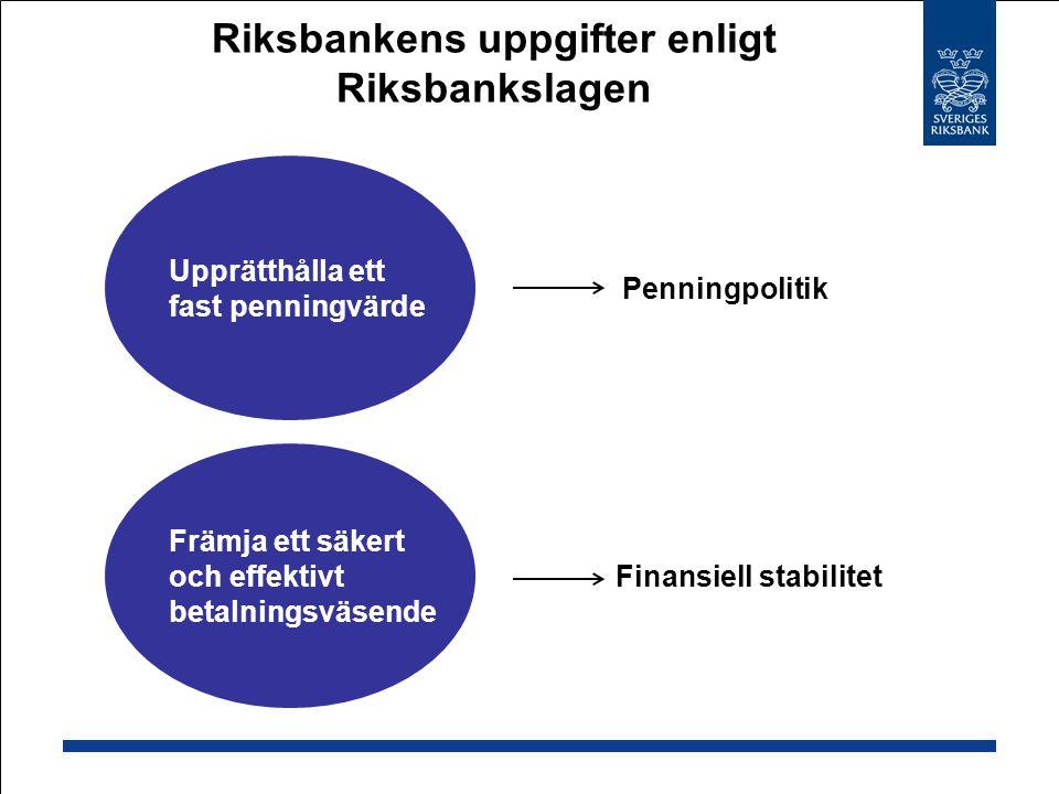 Riksbankens uppgifter enligt Riksbankslagen Upprätthålla ett fast penningvärde Främja ett säkert och effektivt betalningsväsende Penningpolitik Finans