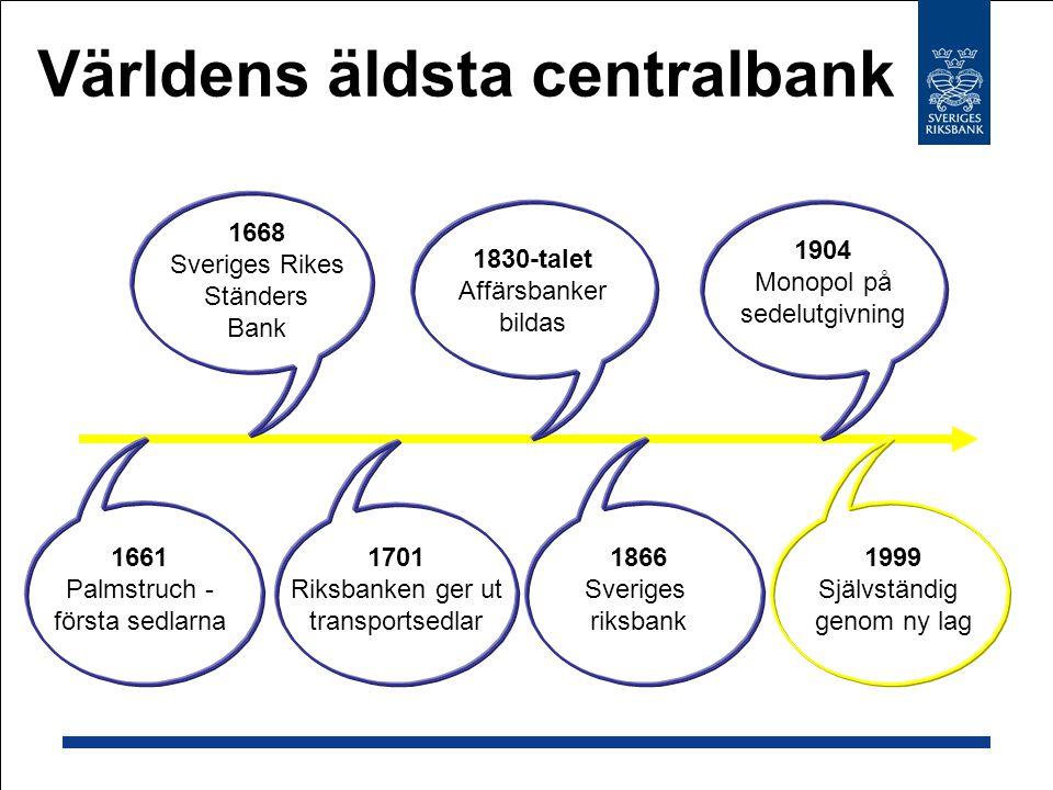 Världens äldsta centralbank 1668 Sveriges Rikes Ständers Bank 1661 Palmstruch - första sedlarna 1701 Riksbanken ger ut transportsedlar 1830-talet Affärsbanker bildas 1904 Monopol på sedelutgivning 1866 Sveriges riksbank 1999 Självständig genom ny lag