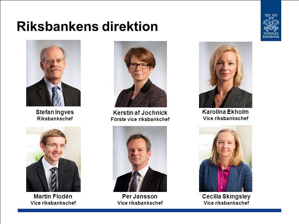 Riksbankens direktion Stefan Ingves Riksbankschef Per Jansson Vice riksbankschef Martin Flodén Vice riksbankschef Karolina Ekholm Vice riksbankschef K