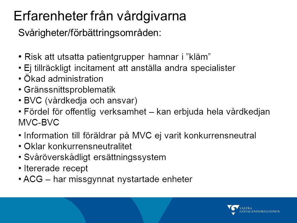 Erfarenheter från vårdgivarna Svårigheter/förbättringsområden: Risk att utsatta patientgrupper hamnar i kläm Ej tillräckligt incitament att anställa andra specialister Ökad administration Gränssnittsproblematik BVC (vårdkedja och ansvar) Fördel för offentlig verksamhet – kan erbjuda hela vårdkedjan MVC-BVC Information till föräldrar på MVC ej varit konkurrensneutral Oklar konkurrensneutralitet Svåröverskådligt ersättningssystem Itererade recept ACG – har missgynnat nystartade enheter
