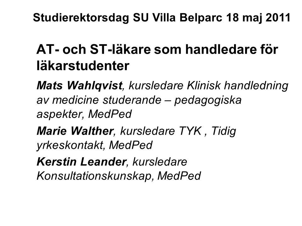 AT- och ST-läkare som handledare för läkarstudenter Mats Wahlqvist, kursledare Klinisk handledning av medicine studerande – pedagogiska aspekter, MedP