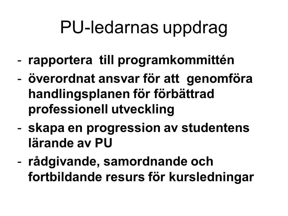 PU-ledarnas uppdrag -rapportera till programkommittén -överordnat ansvar för att genomföra handlingsplanen för förbättrad professionell utveckling -sk