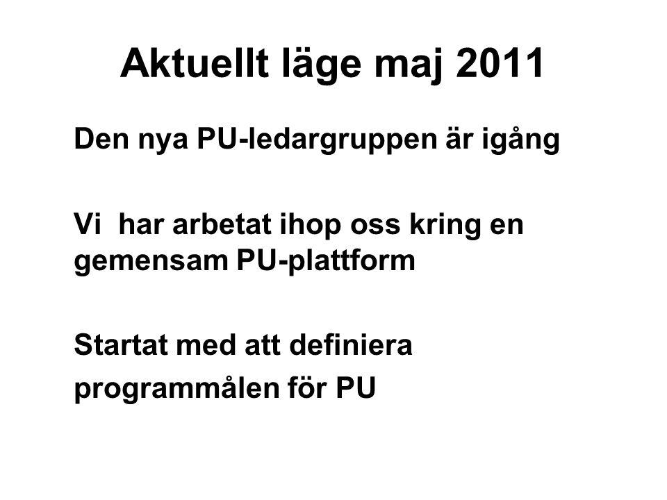 Aktuellt läge maj 2011 Den nya PU-ledargruppen är igång Vi har arbetat ihop oss kring en gemensam PU-plattform Startat med att definiera programmålen