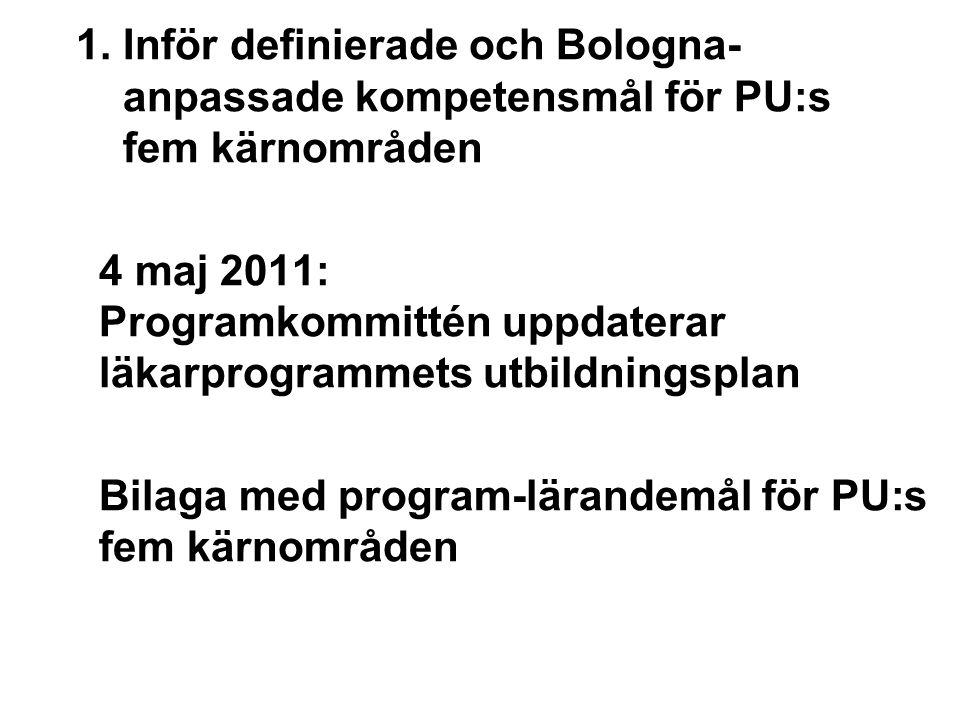 1. Inför definierade och Bologna- anpassade kompetensmål för PU:s fem kärnområden 4 maj 2011: Programkommittén uppdaterar läkarprogrammets utbildnings