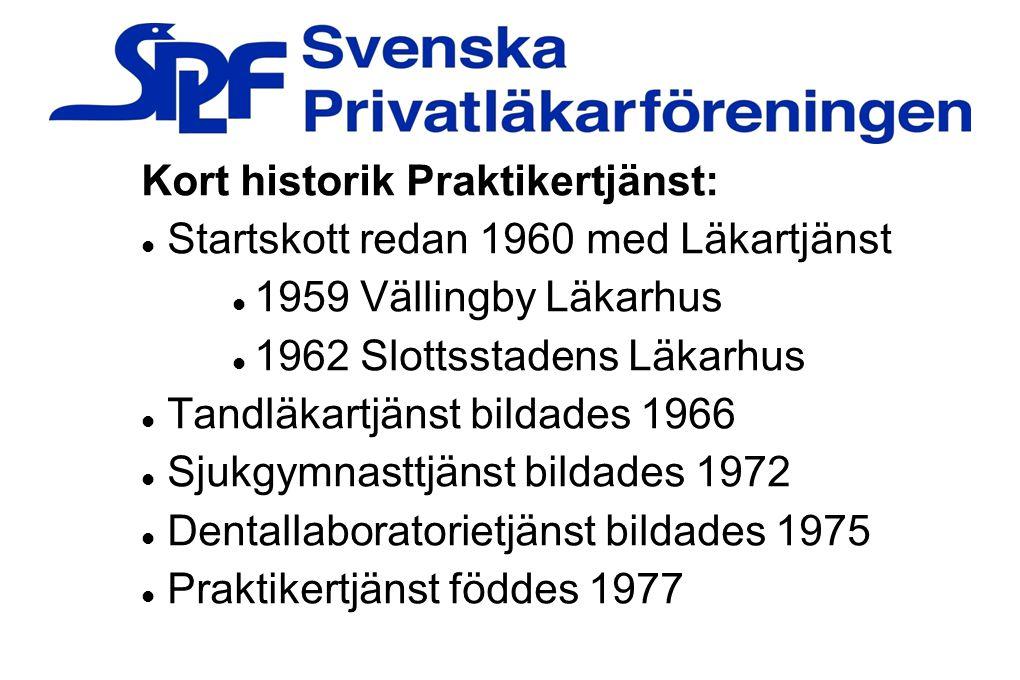 Kort historik Praktikertjänst: Startskott redan 1960 med Läkartjänst 1959 Vällingby Läkarhus 1962 Slottsstadens Läkarhus Tandläkartjänst bildades 1966