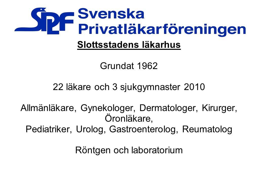 Slottsstadens läkarhus Grundat 1962 22 läkare och 3 sjukgymnaster 2010 Allmänläkare, Gynekologer, Dermatologer, Kirurger, Öronläkare, Pediatriker, Uro