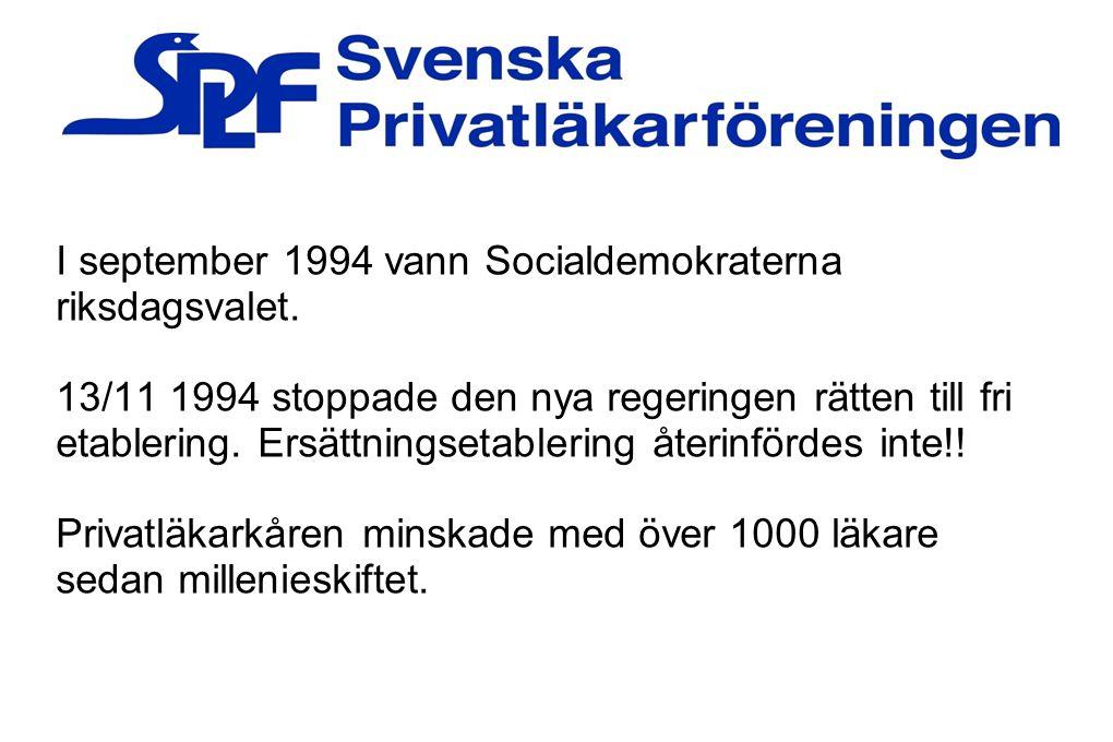 I september 1994 vann Socialdemokraterna riksdagsvalet. 13/11 1994 stoppade den nya regeringen rätten till fri etablering. Ersättningsetablering återi