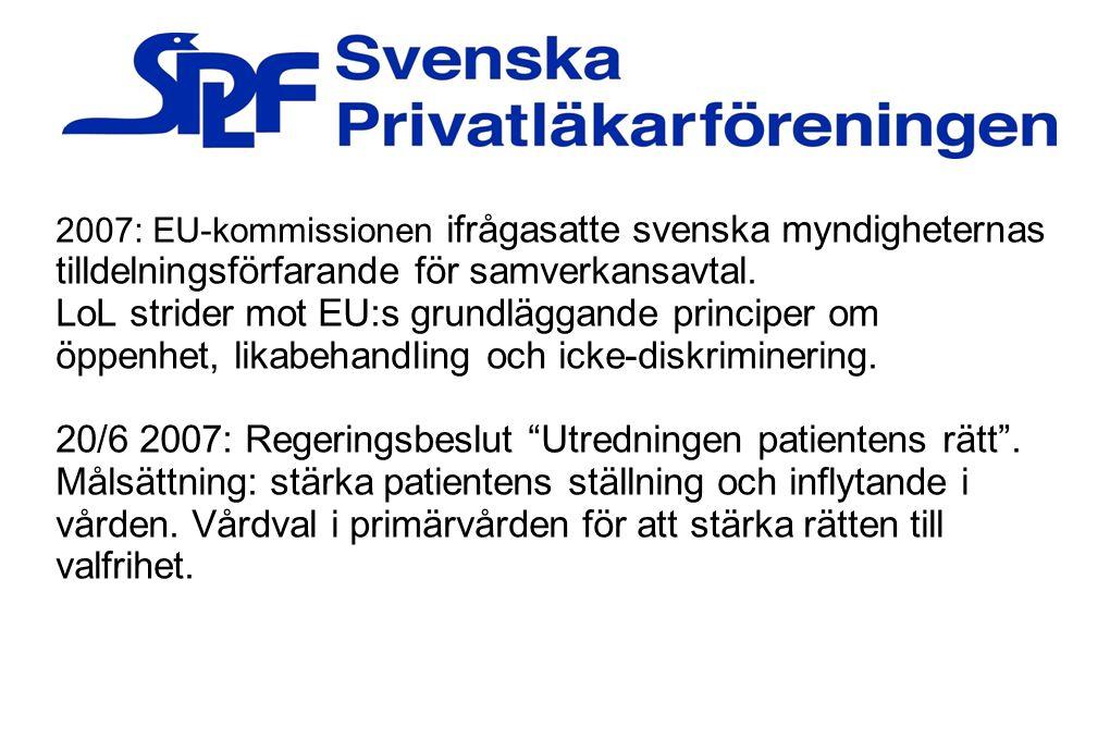2007: EU-kommissionen ifrågasatte svenska myndigheternas tilldelningsförfarande för samverkansavtal. LoL strider mot EU:s grundläggande principer om ö