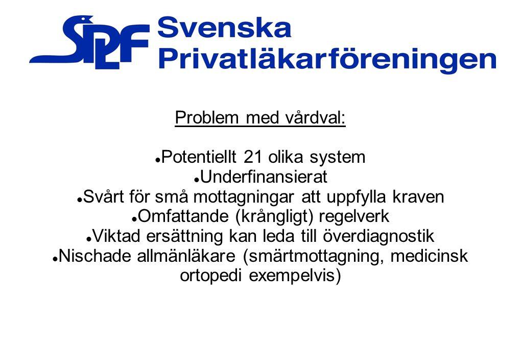 Problem med vårdval: Potentiellt 21 olika system Underfinansierat Svårt för små mottagningar att uppfylla kraven Omfattande (krångligt) regelverk Vikt