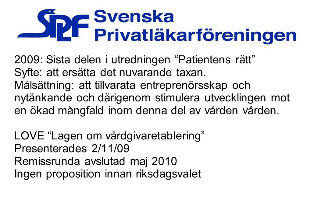 """2009: Sista delen i utredningen """"Patientens rätt"""" Syfte: att ersätta det nuvarande taxan. Målsättning: att tillvarata entreprenörsskap och nytänkande"""