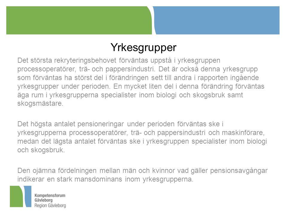 Yrkesgrupper Det största rekryteringsbehovet förväntas uppstå i yrkesgruppen processoperatörer, trä- och pappersindustri.