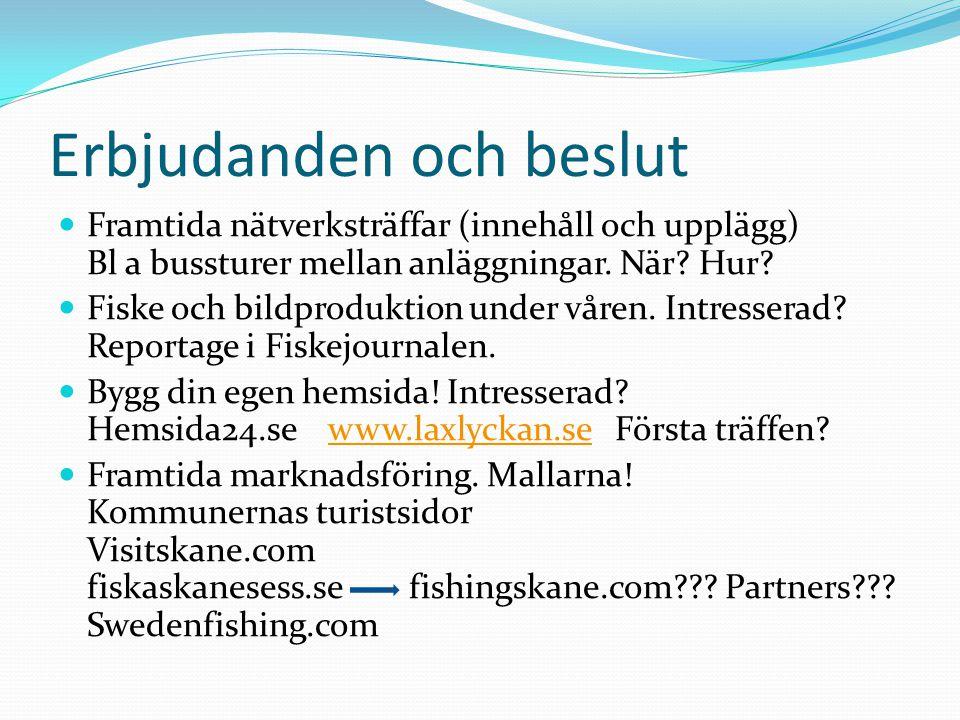 Erbjudanden och beslut Framtida nätverksträffar (innehåll och upplägg) Bl a bussturer mellan anläggningar. När? Hur? Fiske och bildproduktion under vå