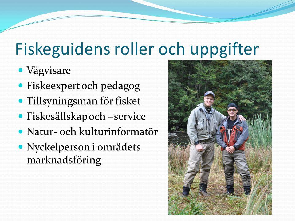 Fiskeguidens roller och uppgifter Vägvisare Fiskeexpert och pedagog Tillsyningsman för fisket Fiskesällskap och –service Natur- och kulturinformatör Nyckelperson i områdets marknadsföring
