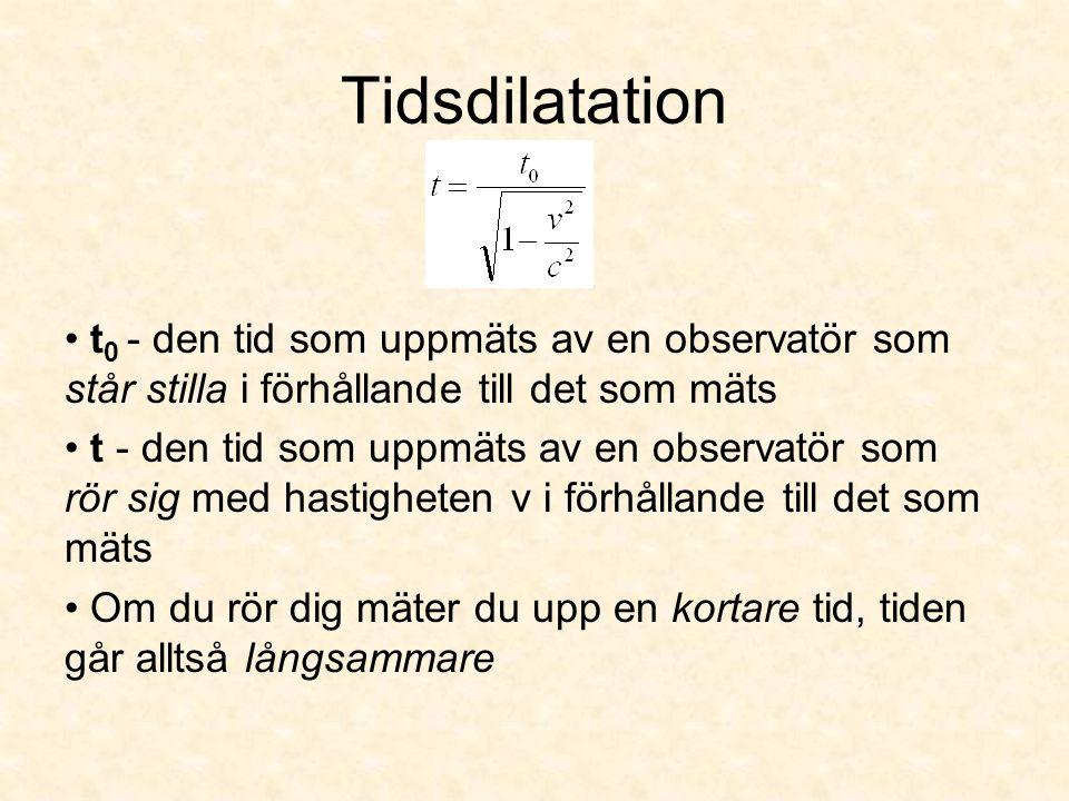 Tidsdilatation t 0 - den tid som uppmäts av en observatör som står stilla i förhållande till det som mäts t - den tid som uppmäts av en observatör som