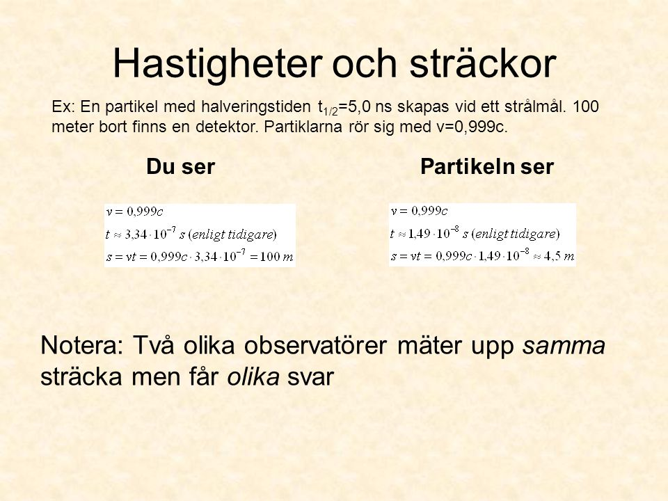 Hastigheter och sträckor Du serPartikeln ser Notera: Två olika observatörer mäter upp samma sträcka men får olika svar Ex: En partikel med halveringst