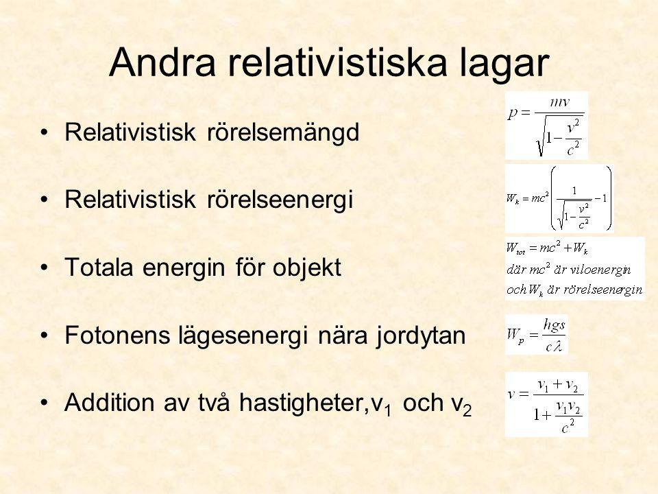 Andra relativistiska lagar Relativistisk rörelsemängd Relativistisk rörelseenergi Totala energin för objekt Fotonens lägesenergi nära jordytan Additio