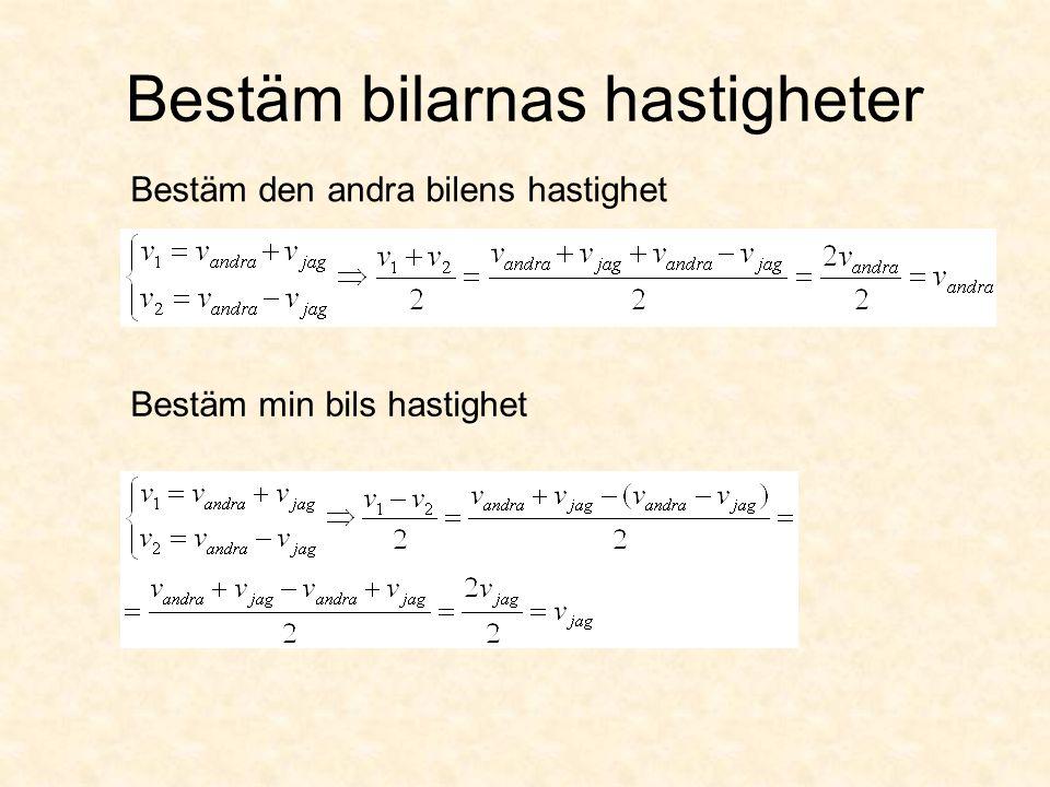 Hastigheter och sträckor Du serPartikeln ser Notera: Två olika observatörer mäter upp samma sträcka men får olika svar Ex: En partikel med halveringstiden t 1/2 =5,0 ns skapas vid ett strålmål.