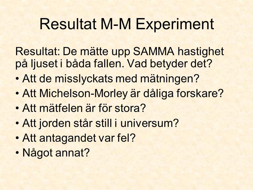 Resultat M-M Experiment Resultat: De mätte upp SAMMA hastighet på ljuset i båda fallen. Vad betyder det? Att de misslyckats med mätningen? Att Michels