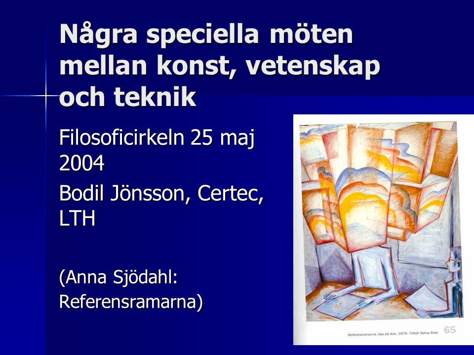 Några speciella möten mellan konst, vetenskap och teknik Filosoficirkeln 25 maj 2004 Bodil Jönsson, Certec, LTH (Anna Sjödahl: Referensramarna)
