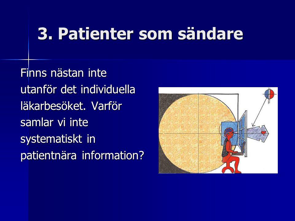 3. Patienter som sändare Finns nästan inte utanför det individuella läkarbesöket.