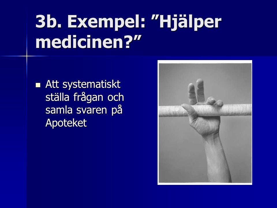"""3b. Exempel: """"Hjälper medicinen?"""" Att systematiskt ställa frågan och samla svaren på Apoteket Att systematiskt ställa frågan och samla svaren på Apote"""