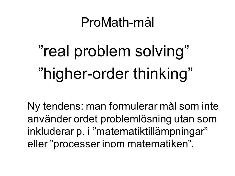 """ProMath-mål """"real problem solving"""" """"higher-order thinking"""" Ny tendens: man formulerar mål som inte använder ordet problemlösning utan som inkluderar p"""