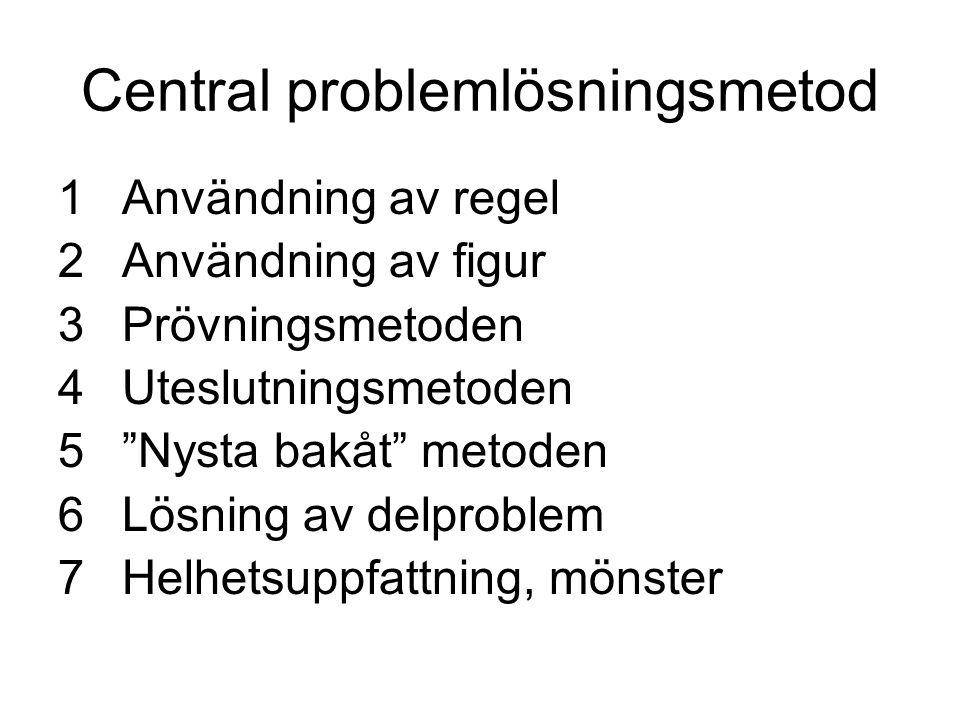 """Central problemlösningsmetod 1Användning av regel 2Användning av figur 3Prövningsmetoden 4Uteslutningsmetoden 5""""Nysta bakåt"""" metoden 6Lösning av delpr"""