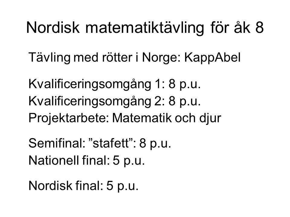 Nordisk matematiktävling för åk 8 Tävling med rötter i Norge: KappAbel Kvalificeringsomgång 1: 8 p.u. Kvalificeringsomgång 2: 8 p.u. Projektarbete: Ma