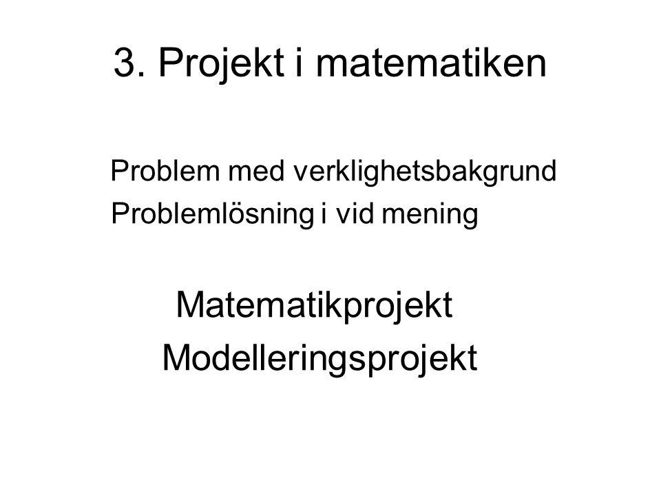 Projektarbetets roll projektrubrikerna kan väljas från elevernas intresseområden och från det verkliga livet projektet ger möjlighet att lösa problem som inte går att lösa på några minuter projektarbetet ger träning i hela modelleringsprocessen (gäller gymnasiet) projektarbetet ger träning i att lösa problem i grupp (jämför arbetsgrupper!)