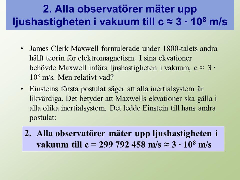 2. Alla observatörer mäter upp ljushastigheten i vakuum till c ≈ 3 · 10 8 m/s James Clerk Maxwell formulerade under 1800-talets andra hälft teorin för