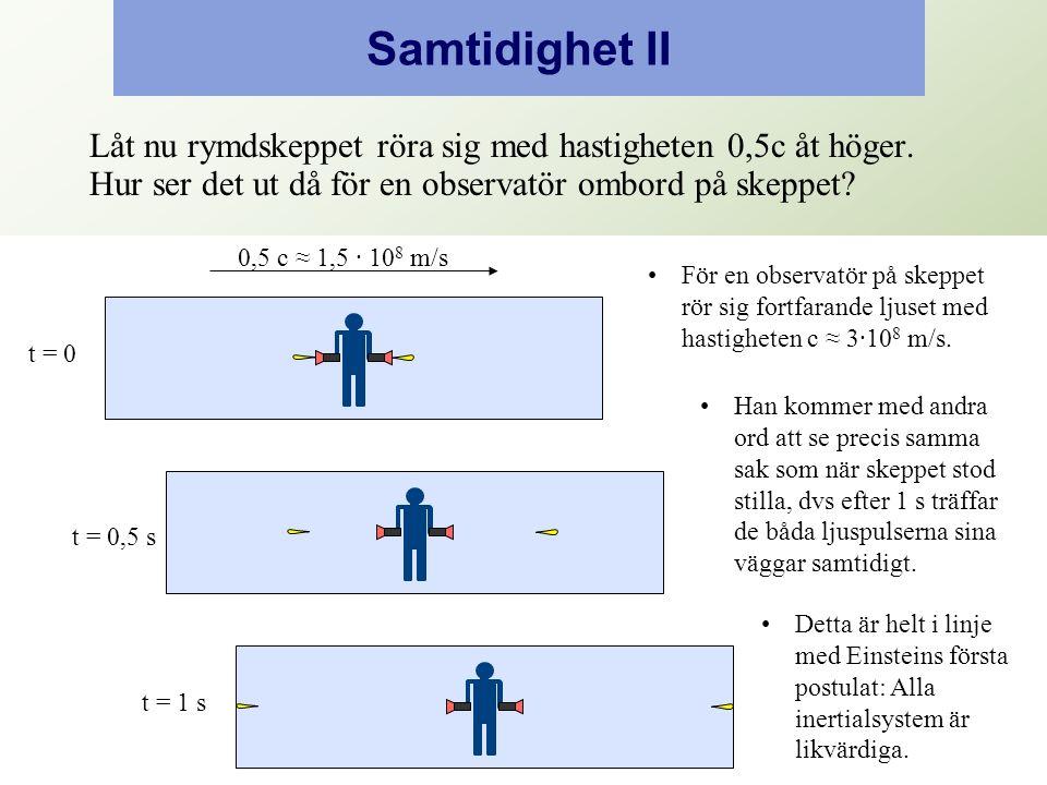 0,5 Samtidighet II Låt nu rymdskeppet röra sig med hastigheten 0,5c åt höger.