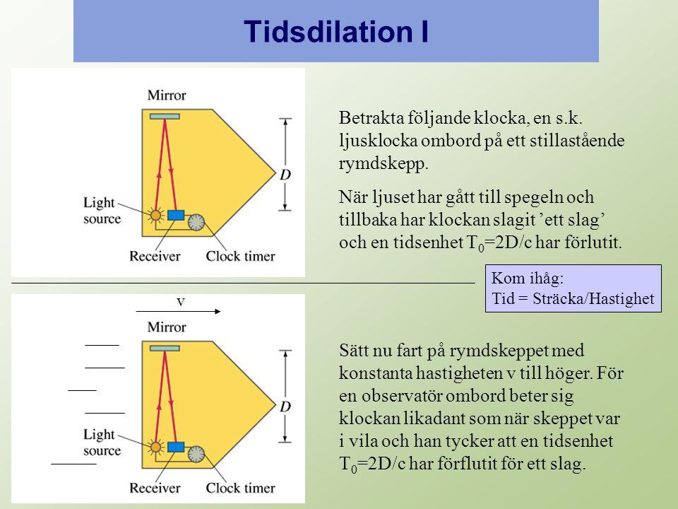 Tidsdilation I Betrakta följande klocka, en s.k. ljusklocka ombord på ett stillastående rymdskepp.