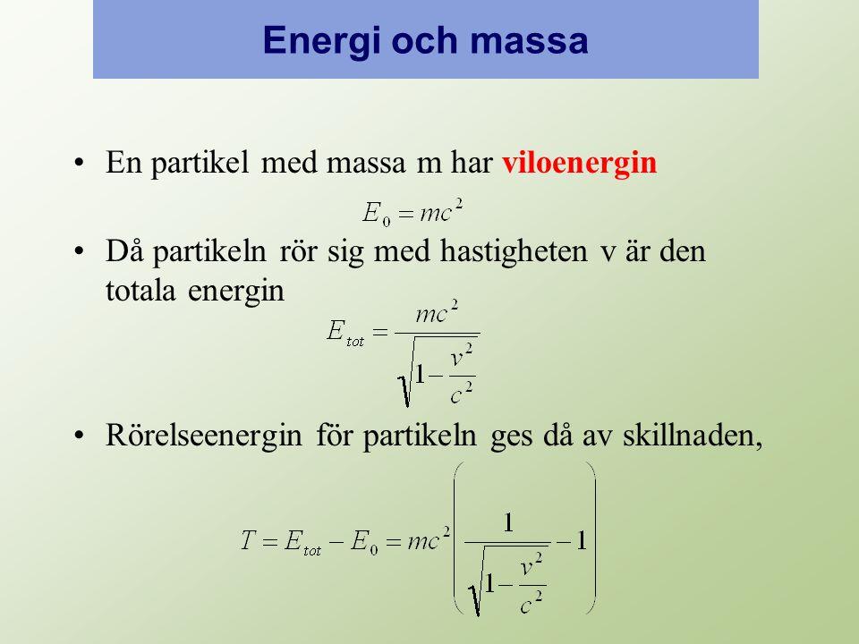 Energi och massa En partikel med massa m har viloenergin Då partikeln rör sig med hastigheten v är den totala energin Rörelseenergin för partikeln ges då av skillnaden,