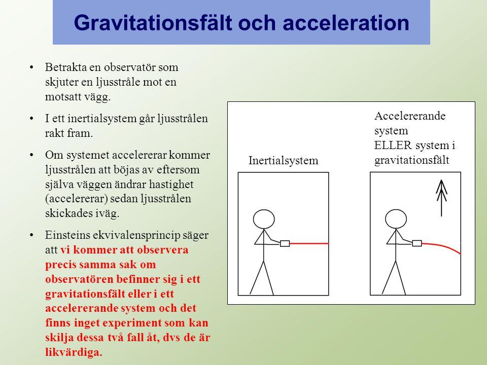 Gravitationsfält och acceleration Inertialsystem Accelererande system ELLER system i gravitationsfält Betrakta en observatör som skjuter en ljusstråle mot en motsatt vägg.