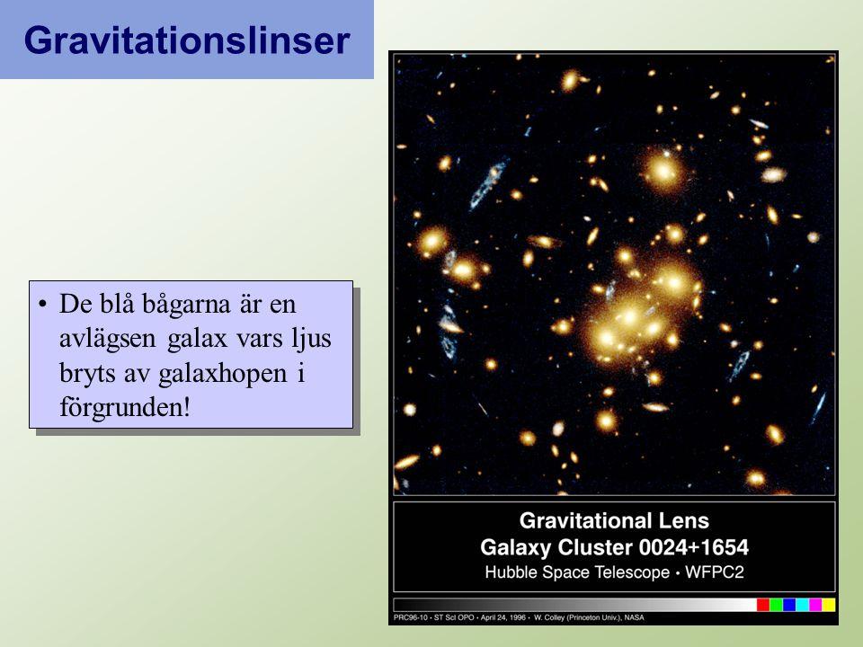 De blå bågarna är en avlägsen galax vars ljus bryts av galaxhopen i förgrunden! Gravitationslinser