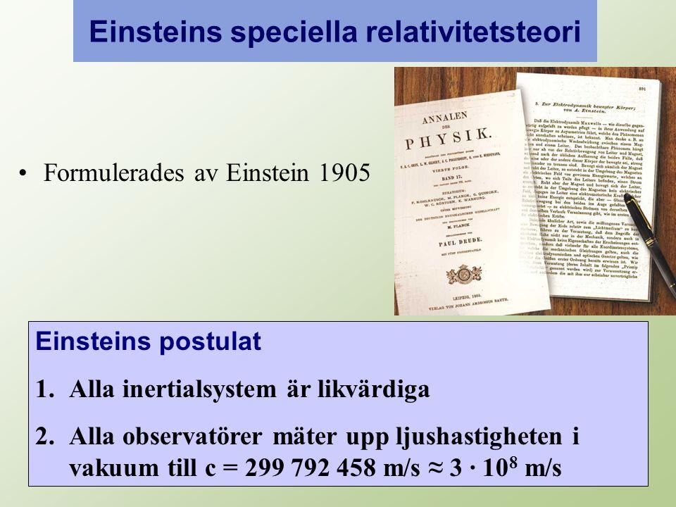 Einsteins speciella relativitetsteori Formulerades av Einstein 1905 Einsteins postulat 1.Alla inertialsystem är likvärdiga 2.Alla observatörer mäter upp ljushastigheten i vakuum till c = 299 792 458 m/s ≈ 3 · 10 8 m/s