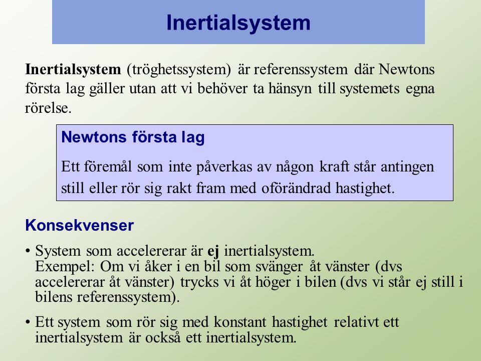 Inertialsystem Inertialsystem (tröghetssystem) är referenssystem där Newtons första lag gäller utan att vi behöver ta hänsyn till systemets egna rörelse.