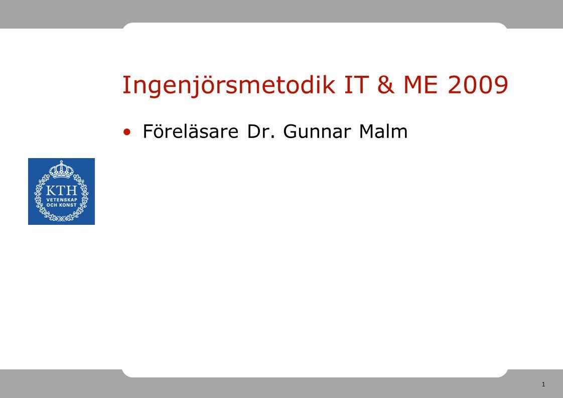 1 Ingenjörsmetodik IT & ME 2009 Föreläsare Dr. Gunnar Malm