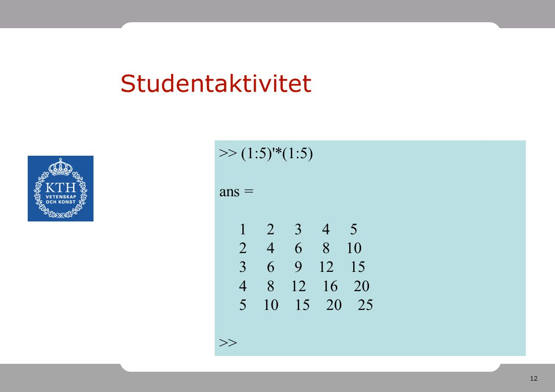 12 Studentaktivitet >> (1:5) *(1:5) ans = 1 2 3 4 5 2 4 6 8 10 3 6 9 12 15 4 8 12 16 20 5 10 15 20 25 >>