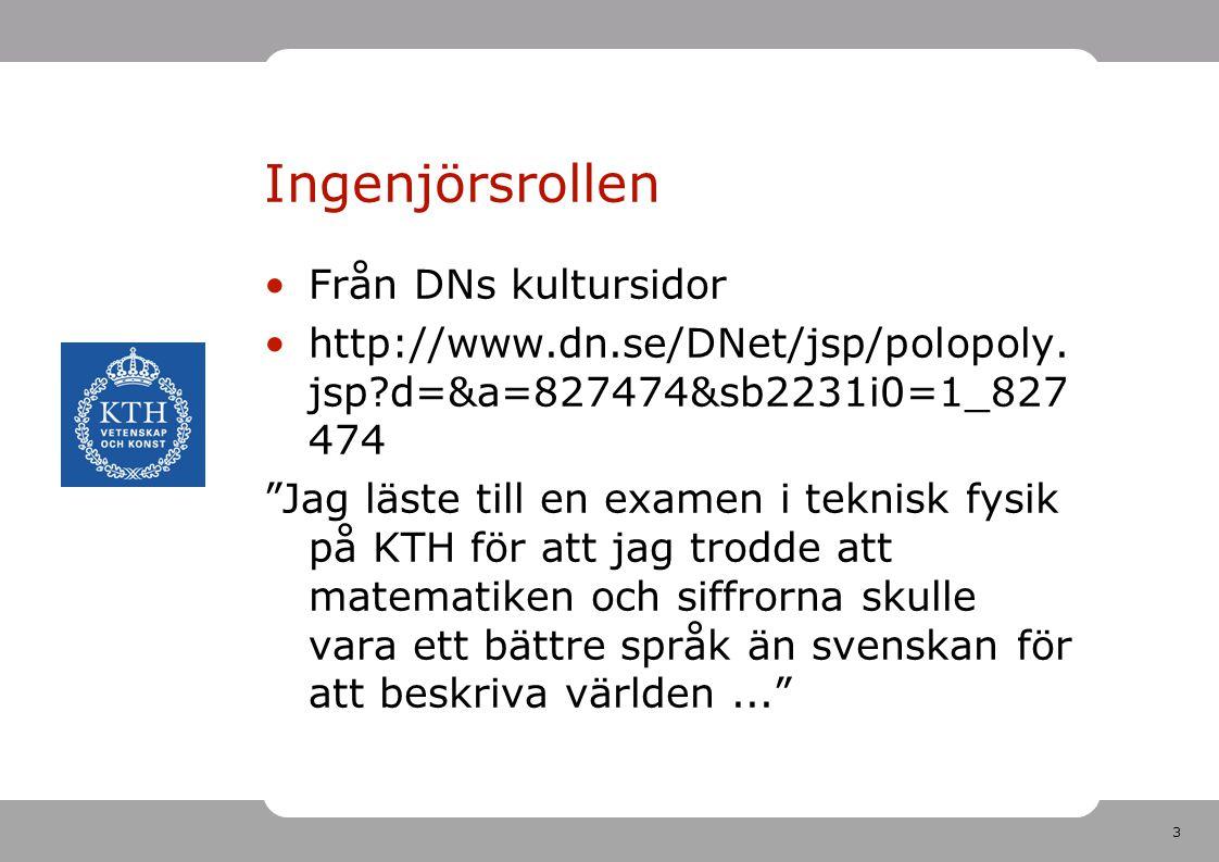 3 Ingenjörsrollen Från DNs kultursidor http://www.dn.se/DNet/jsp/polopoly.